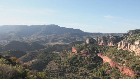 Panoramic view of mountain canyon with road, Siurana, Spain Stock Video Footage