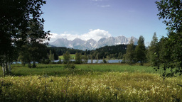 Austrian Alps And Lake Panoramic View Stock Video Footage