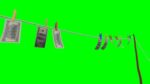 Flying banknotes of dollars. Isolated over green alpha Stock Video Footage