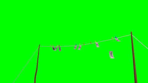 Flying banknotes of dollars. Isolated over green alpha Animation