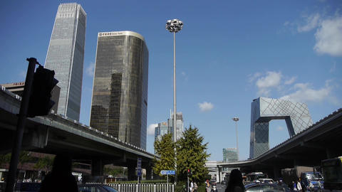 business building in Beijing China,busy crossing traffic... Stock Video Footage