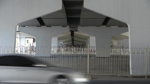traffic under overpass in Beijing Stock Video Footage