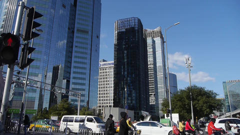 business building district in Beijing,busy traffic &... Stock Video Footage