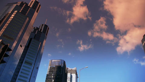 sunset skyscraper clouds,business tall office buildings... Stock Video Footage