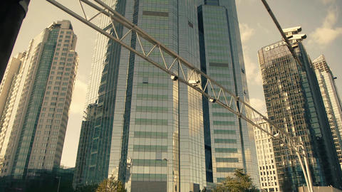 skyscraper & traffic monitoring,business tall office... Stock Video Footage