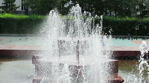 Close view of fountain water jets Footage