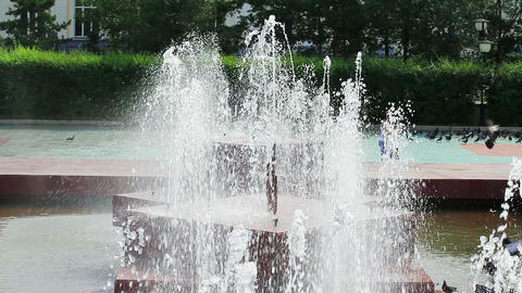 Close view of fountain water jets Stock Video Footage