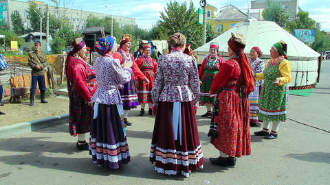 Group of russian folk singers during festival Footage