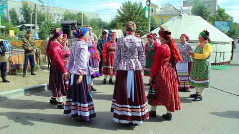 Group of russian folk singers during festival Stock Video Footage