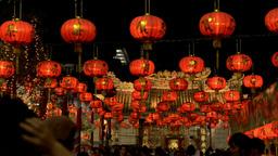 Chinese New Year Lanterns Shining at Night Stock Video Footage