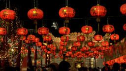 Chinese New Year Lanterns Shining at Night Footage