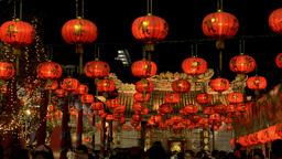 Chinese New Year Lanterns Shining at Night Stock Video Footage
