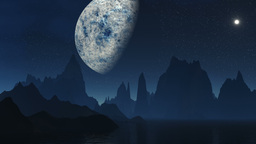 The fantastic moon against mountains Stock Video Footage