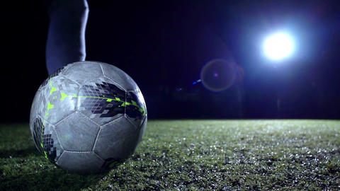 Soccer Player Kicks Ball Stock Video Footage