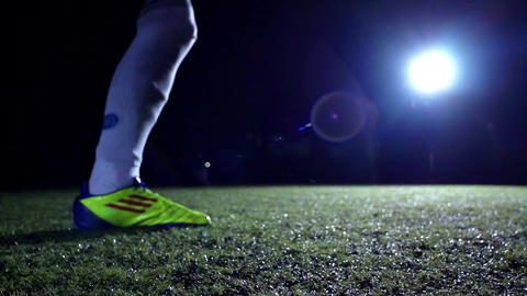 Soccer Player Kicks Ball Footage