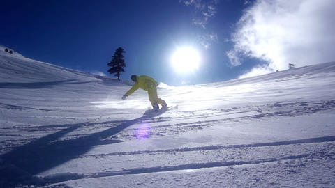 Snowboarder  Downhill stock footage