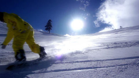 Snowboarder Downhill Stock Video Footage