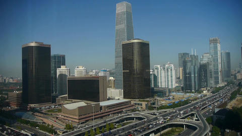 Aerial view of traffic at intersection city,business building district China Footage
