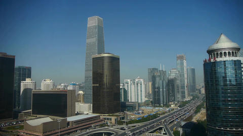 Aerial view of timelapse traffic in city,business building district China Footage