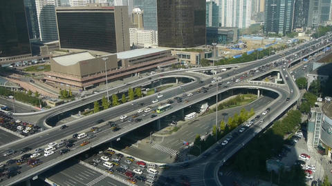 Aerial view of traffic at intersection city,downtown... Stock Video Footage