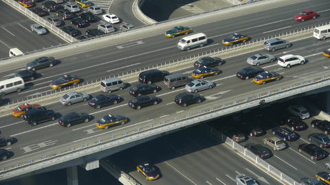 Aerial view of overpass traffic at an urban city beijing... Stock Video Footage