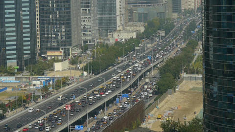 Aerial view of overpass traffic at city,business building in Beijing china Footage