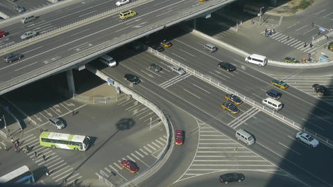 Aerial view of crosswalk & overpass traffic at an urban city beijing China Footage