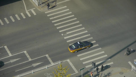 Aerial view of crosswalk & overpass traffic in... Stock Video Footage