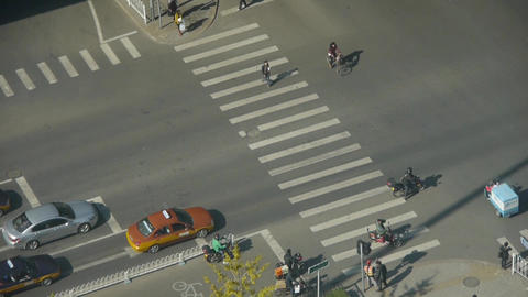 Aerial view of crosswalk & overpass traffic in beijing China,zebra crossing Footage