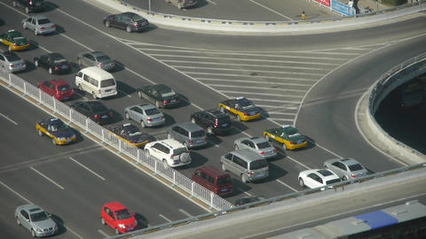 Aerial view of timelapse overpass traffic at an urban city Footage