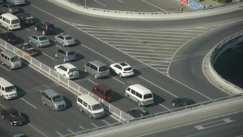 Aerial view of timelapse overpass traffic at an urban city Stock Video Footage