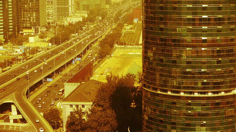 Aerial view of sandstorm Beijing,city overpass traffic,business building reflect Footage