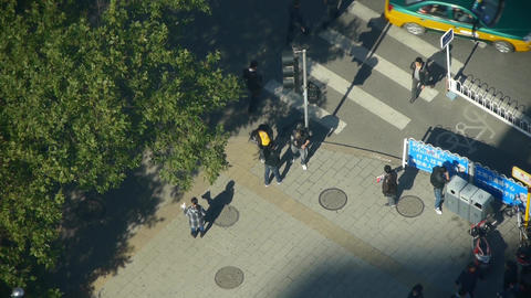 Aerial view of crosswalk & traffic at an urban city,zebra crossing Footage
