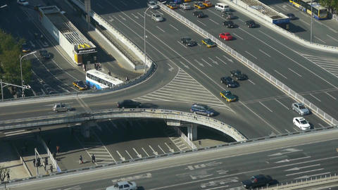 Aerial view of timelapse overpass traffic in city Stock Video Footage