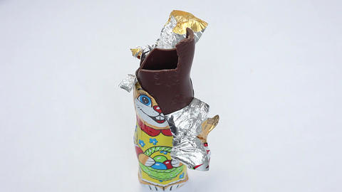 Limelapse of an chocolate easter bunny, getting eaten Footage