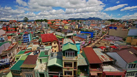 Close Upper View of Vietnamese Resort City Roofs Footage