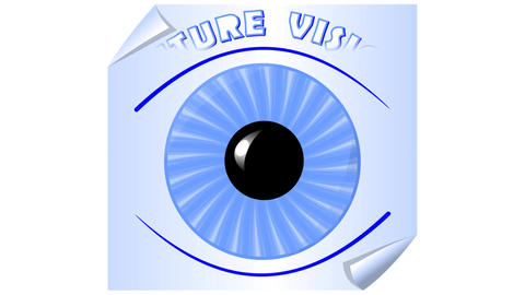 Future vision, video with animated eye, blue iris on a sheet of paper, blue back Animation