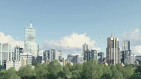 Modern city skyline and park zone panorama Footage