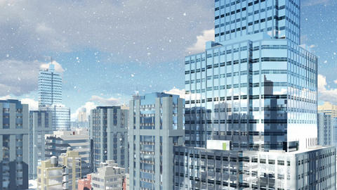 Modern high rise buildings at snowfall day Animation