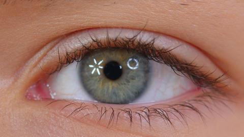Beautiful human eye close-up. Young Woman one eye macro shoot. Macro Closeup eye Live Action