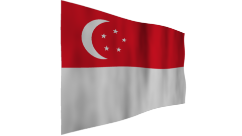 Flag of Singapore. The background is an alpha channel (transparent) Animation