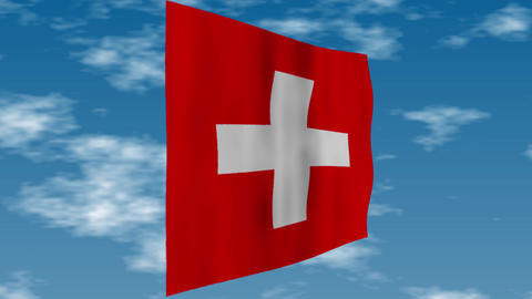 Flag of Switzerland. Clouds are flowing in the background.. Clouds are flowing in the background Animation