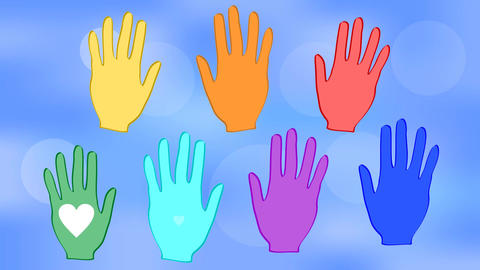 Waving hands in rainbow colors on a blue bokeh background. White hearts on palms Animation