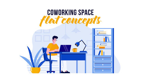 Coworking space - Flat Concept After Effects Template
