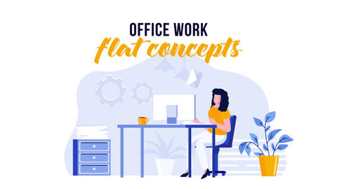 Office work - Flat Concept After Effects Template
