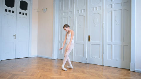 Elegant Ballerina In Pointe Dancing Live Action