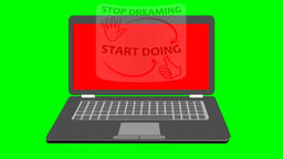 Business motivation movie with notebook. On the laptop display arrives rotating  Animation