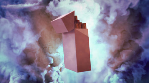 cg industrial 3D rendering, cigarettes pack rotating on smoke background Animation
