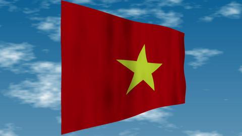 ベトナムの国旗 背景の空には雲が流れています。 CG動画
