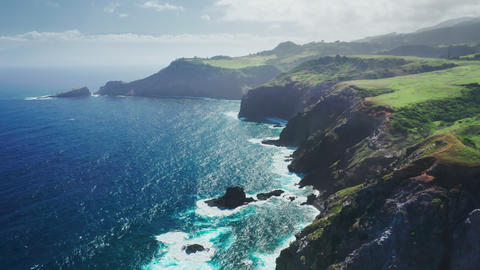 Scenic rocky coast nature background. Traveling pure nature island Maui Hawaii Live Action